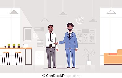 couple men handshaking african american business partners hand shake during meeting agreement partnership concept co-working center modern office interior flat full length horizontal