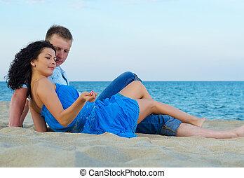 couple, mer, heureux