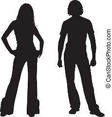 couple, mode, silhouette