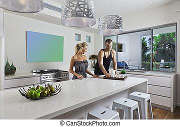 couple, moderne, jeune, cuisine