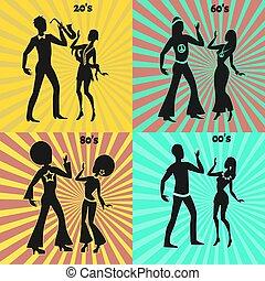 couple, moderne, retro, danse