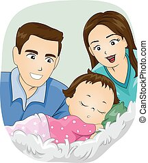 Couple Mom Dad Baby Sleep