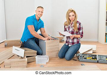 couple, montage, meubles