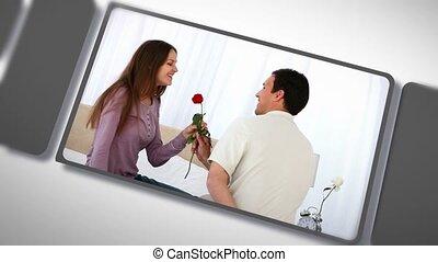 couple, montage, moments, partage, heureux