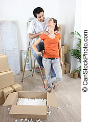 couple moving in their new apartment