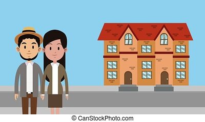 Couple moving to new house HD animation