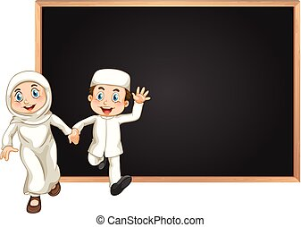 couple, musulman, planche, gabarit