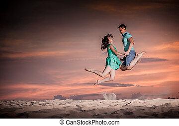 couple, nature, jump, sunset