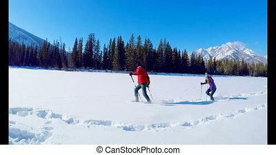 couple, neigeux, skieur, paysage, 4k, courant