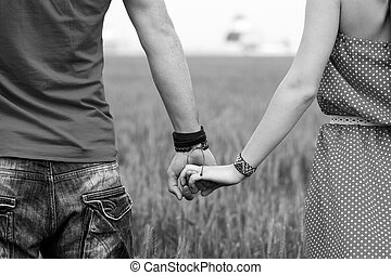 couple, noir, blanc, tenant mains