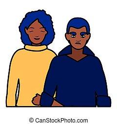couple, noir, jeune, caractères