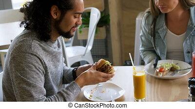couple, nourriture, avoir, restaurant, 4k