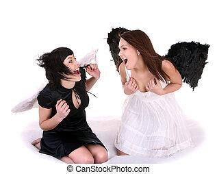 Couple of angel on cloud.