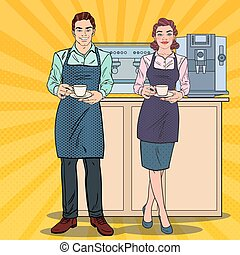 Couple of Barista Preparing Coffee in Cafe. Pop Art retro...