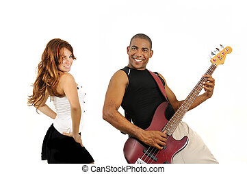 Couple of bass player and dancer