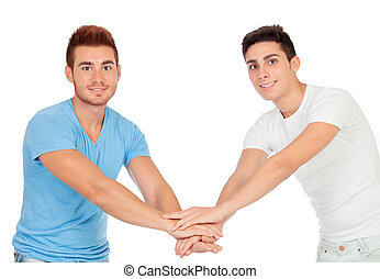 Couple of best friends shaking hands