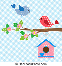 Couple of birds and birdhouse.Vector card design