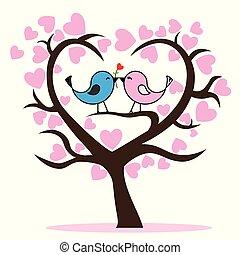 Couple of birds in tree