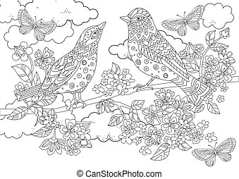 couple of birds on branch of blossom tree for your coloring book