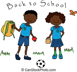 Back to school: couple of black guys, a boy and a girl, dressed in their school uniform and going back to school.