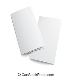Couple of blank trifold paper brochure. on white background...