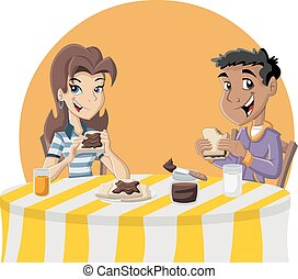 teenagers eating toast - Couple of cartoon teenagers eating...