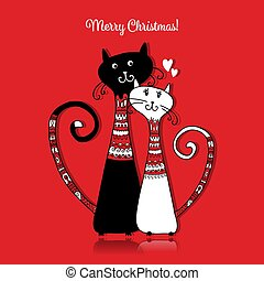 Couple of cats in cozy sweaters. Christmas card design