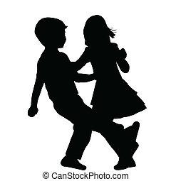 Couple of children dancing