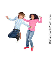 Couple of children jumping