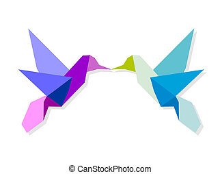Couple of colorful origami hummingbird - Couple of Origami ...