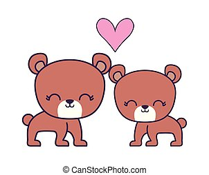 couple of cute bear animal isolated icon