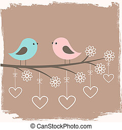 Couple of cute birds. Card for Valentine day in retro style