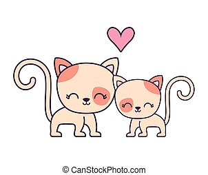 couple of cute cat animal isolated icon