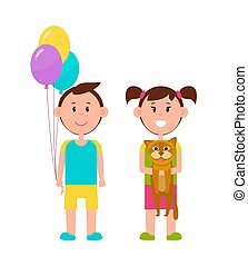 Couple of Cute Children, Color Vector Illustration