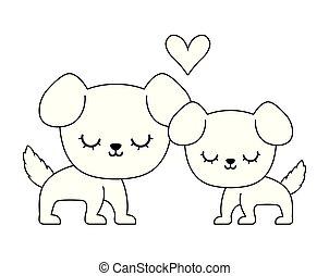 couple of cute dog animal isolated icon