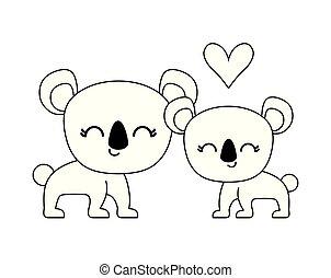 couple of cute koala animal isolated icon
