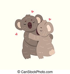 Couple of cute koalas in love embracing each other, two happy  aniimals hugging with hearts over their head vector Illustration on a white background