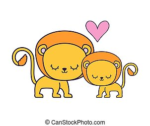 couple of cute lion animal isolated icon