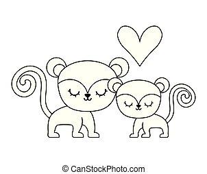 couple of cute monkey animal isolated icon