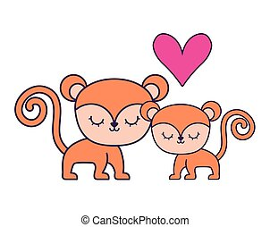 couple of cute monkey animal isolated icon