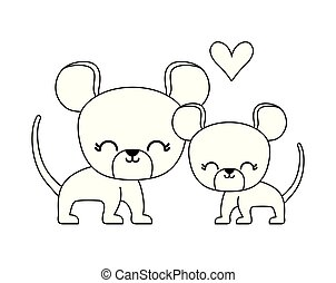 couple of cute mouse animal isolated icon