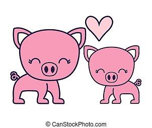 couple of cute piggy animal isolated icon