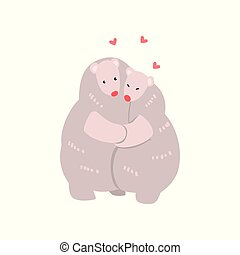 Couple of cute polar bears in love embracing each other, two happy aniimals hugging with hearts over their head vector Illustration on a white background