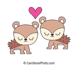 couple of cute porcupine animal isolated icon