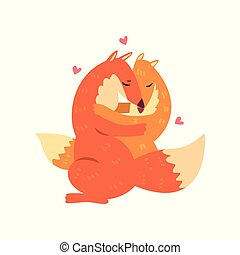 Couple of cute red foxes in love embracing each other, two happy aniimals hugging with hearts over their head vector Illustration on a white background