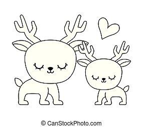 couple of cute reindeer animal isolated icon