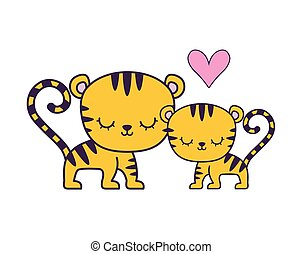couple of cute tiger animal isolated icon
