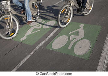 Couple of Cyclists on Bike Lane in Paris, France
