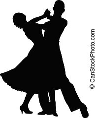 couple of dancers black silhouette on competition in ...