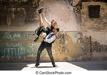 Couple of dancers performing together